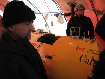Canadian Foreign Affairs Minister Lawrence Cannon visits the Borden Island ice camp on April 6, 2010. Operations at the Borden Island ice camp will continue through the spring of 2010, as Canada works to meet the criteria set out in the United Nations Convention on the Law of the Sea. (Department of Foreign Affairs)
