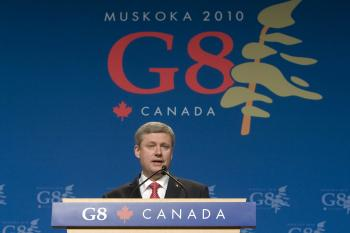 Stephen Harper speaks during a news conference at the G8 Summit at the Deerhurst Resort in Huntsville, Ontario, on Saturday, June 26, 2010.