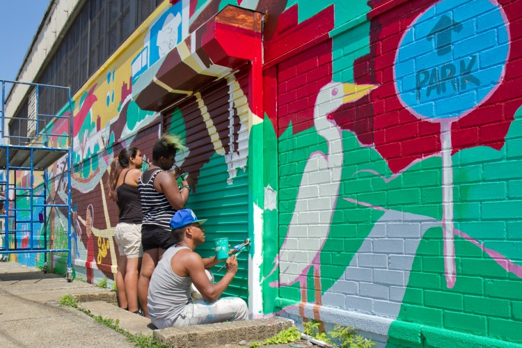 (L R) Ayhn Gonzalez, Tamika McLean, And Yoiky Brito Paint A Mural On Part 65