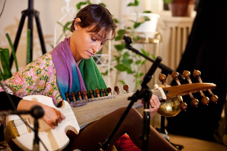 Grammy-nominated performer and recording artist, Camila Celin playing the Indian classical instrument, the sarod, at Chandayan's Ragas for Truth, Compassion, and Tolerance, Sept. 28 in New York.