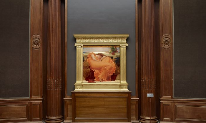 """The painting """"Flaming June"""" by Frederic Leighton on display at the Frick Collection from June 9 to Sept. 6, 2015. (Courtesy The Frick Collection)"""