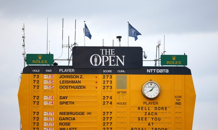 The scoreboard shows just how close Jordan Spieth was to winning his third straight major championship. (Matthew Lewis/Getty Images)