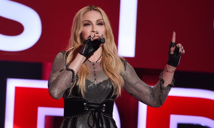 Singer Madonna during the 2015 iHeartRadio Music Awards at The Shrine Auditorium in Los Angeles on March 29, 2015. (Kevin Winter/Getty Images for iHeartMedia)