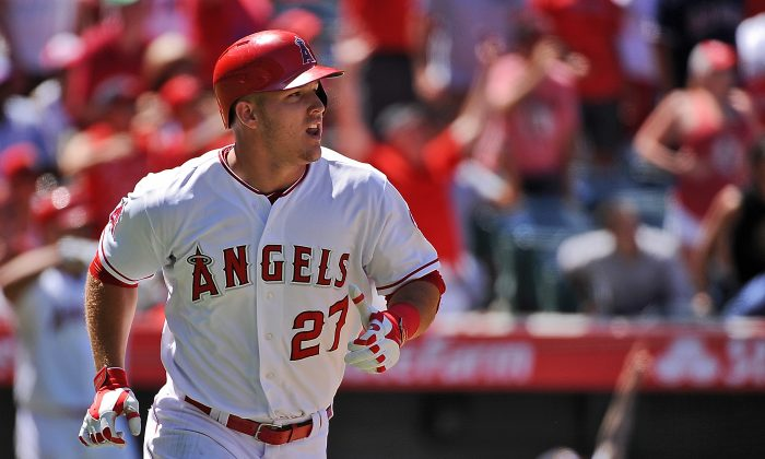 Mike Trout now has 31 home runs in his quest for a second straight MVP. (Jonathan Moore/Getty Images)