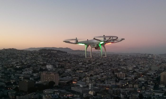 A drone flies over San Francisco on Dec. 21, 2013. (arbitragery/CC BY-SA 2.0)