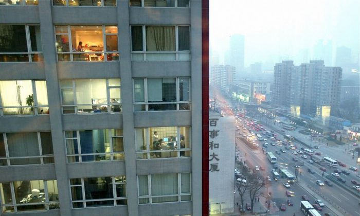 A highrise office building in Beijing, 2004. The trend to emigrate has slowly spread from the rich to the middle-class. (Goh Chai Hin/AFP/Getty Images)