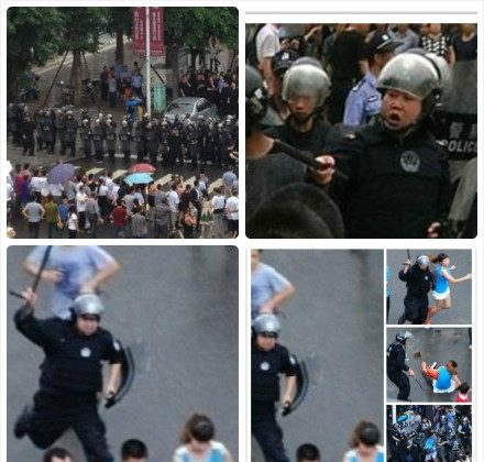 Residents of Shifang took photographs of riot police, which netizens circulated widely online. (Weibo.com)