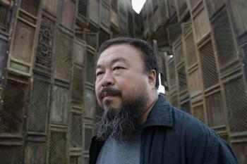 Chinese Artist Ai Weiwei poses in front of his sculpture 'Template'. Weiwei disappeared by the authorities on April 3 and has not been heard from since.  (Simon/Getty Images)