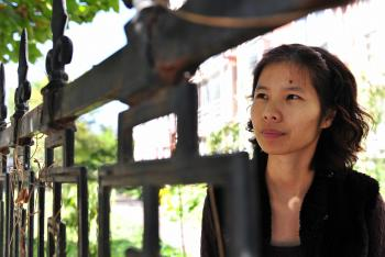 Chinese dissident Zeng Jinyan talked nervously knowing that she was being constantly watched, about the necessity of continuing the fight for rights in China.(Frederic J Brown/AFP/Getty Images)