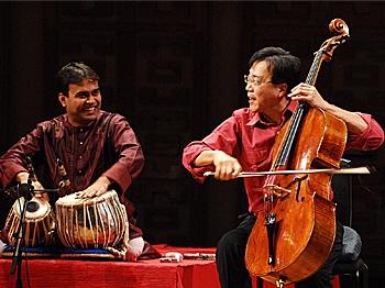 GLOBAL MUSIC: Yo Yo Ma (on R) in a performance of the Silk Road Ensemble. (Courtesy of Silk Road Ensemble)