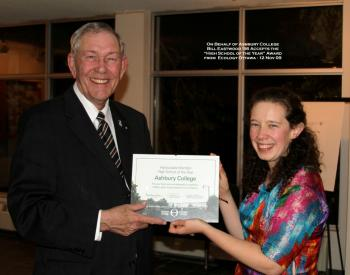 On behalf of Ashbury College, Bill Eastwood, a 1956 graduate of the college, accepts the 'Hounourable Mention High School of the Year' award from Ecology Ottawa on Nov. 12, 2009.  (Courtesy of Ashbury College)