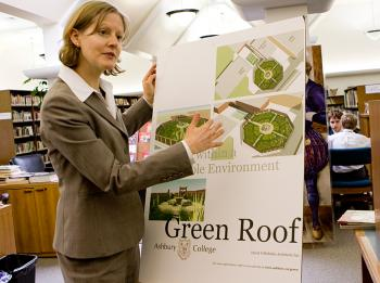 LEARNING WITHIN A SUSTAINABLE ENVIRONMENT: Kendal Young, Assistant Director of the Junior School at Ashbury College, explains the plans for building a green roof on top of Ashbury Theatre that will serve as both a garden and a classroom.  (Samira Bouaou/The Epoch Times)