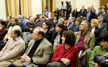 The audience at the book launch of 'Bloody Harvest' held on Nov. 16, 2009, on Parliament Hill. (Samira Bouaou/The Epoch Times)