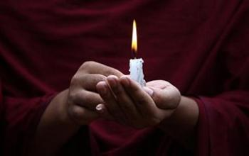 Tibetans in-exile held a candlelight vigil in Kathmandu on June 5, 2009, to mark the 20th anniversary of Beijing's crackdown on pro-democracy protesters in Tiananmen Square. (Prakash Mathema/AFP/Getty Images)