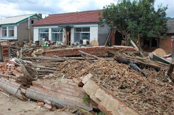 Only two kilometers (1.2 miles) from the Dahe Dam, the Dahe Village incurred the worst housing damage. (Photo provided by a source in China)