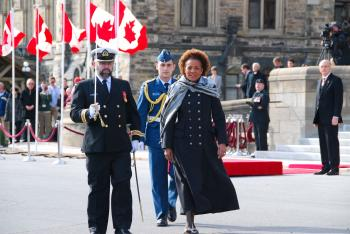 Governor General Michaelle Jean arrives on Parliament Hill to deliver the speech from the throne on March 3, 2010, to officially open the 3rd session of the 40th Parliament of Canada. (NTDTV)