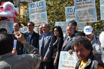 Mayoral candidate Ed Lee standing among supporters at an official campaign event at Portsmouth Square on Oct. 15. Shortly after he left the event, the witness saw an apparent campaign worker receive a Vote-by-Mail ballot from a voter. (Epoch Times)