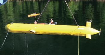 An Arctic Explorer AUV being recovered following a demonstration mission. An Explorer-class AUV costs between $2 million and $3 million depending on the type of sensors it is equipped with. (Courtesy of ISE)