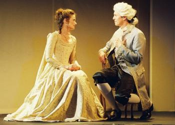 Samantha Ives as Elizabeth Louise Vigee le Brun and Jonathan Kells Phillips as Count Alexis de Ligne in Marie Antoinette: The Color of Flesh.   (Briana Seferian)