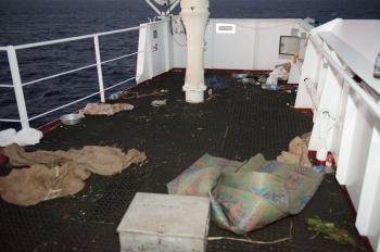 Conditions aboard the Kota Wajar left by Somali pirates. Pirates in the Gulf of Aden fire automatic weapons and rocket-propelled grenades to try to hijack vessels. Once successful, they sail the vessel to the Somali coast and demand ransom. (Corporal Peter Reed, Image Technician, HMCS Fredericton)