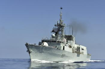 A view of the HMCS Fredericton from one of its boats in the Gulf of Aden. (Department of National Defence)