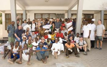 In Dar es Salaam, Tanzania, on a maintenance break from escorting World Food Programme shipments from Kenya to Somalia, HMCS Ville de Quebec crew members helped to paint a classroom, install mosquito nets in the bedrooms, and supply snacks and pillows to the boys who live at the Dogodogo Centre, Oct. 14, 2008. (Corporal Dany Veillette)