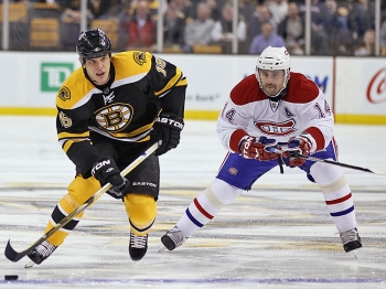 RIVALRY: Boston's Nathan Horton and Montreal's Tomas Plekanec should see a lot of action against each other in the next few days. (Elsa/Getty Images)