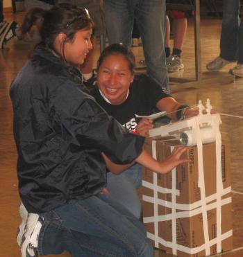Grade 10 students from Weagamow Lake and Sachigo Lake testing a shuttle launcher at the Science Olympics at York University in Toronto, May 2008. (Courtesy of Keewaytinook Internet High School)