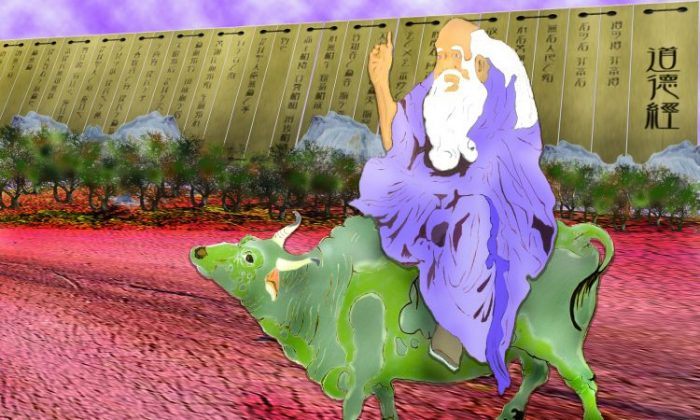 Lao Zi, heralded by a purple aura, appeared on a water buffalo. To enable people to return to their true nature, Lao Zi disseminated the Dao during a chaotic period in the Zhou Dynasty. (Zona Yeh/Epoch Times)