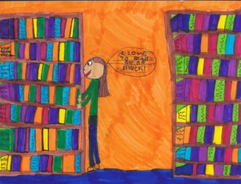 Winning drawing submission by 9-year-old Melissa McNeil to the Why My Library Matters to Me contest.  (Courtesy TPLWU Local 4948)
