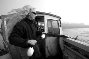 Alexandra Morton hauls in a net she uses to catch salmon fry. After testing the fry for sea lice, she releases them back into the ocean. (Nik West)