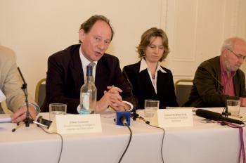 INVESTIGATION: Edward McMillan-Scott, Vice-President of the European Parliament and MEP for Yorkshire and the Humber, speaking at a press conference in London on Tuesday 28 April 2009  (Edward Stephen / The Epoch Times)