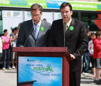 ADOPT A METRE: (L-R) Henry Storgaard, Chair, Rideau Canal Festival, and Blair Patacairk, Chair of the Adopt-A-Metre Committee, speaking at the festival launch (Dong Hui/The Epoch Times)