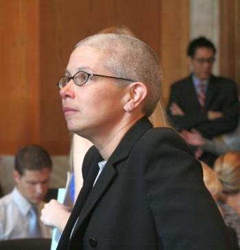 Sophie Richardson, Asia Advocacy Director, Human Rights Watch, is alarmed at the harsh sentences given out in communist China to persons who are not even especially critical of the regime. She testified Aug. 3 before the Congressional-Executive Commission on China hearing on Capitol Hill. (Gary Feuerberg/The Epoch Times)