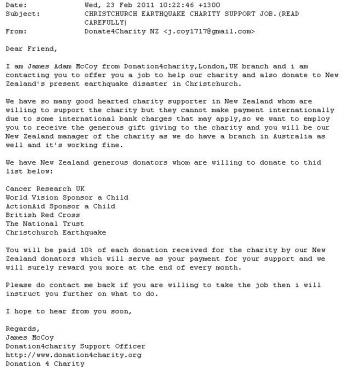Scam email example. (www.consumeraffairs.govt.nz)
