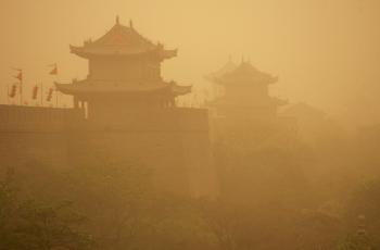 XIAN, CHINA - In this file photo, an elevated view of the Ming Dynasty City Wall Relic is seen amid a heavy sandstorm in Xian of Shaanxi Province, China. China has been plagued for over three years with these storms(Photo by China Photos/Getty Images)