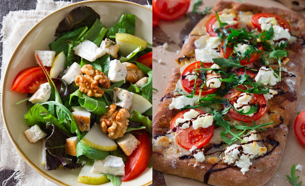 The Ruspante Salad, with mixed greens, rosemary chicken, apples, caramelized walnuts, croutons, and honey mustard; Pizza Tricolore with fresh tomatoes, goat cheese, and arugula; a staff member gets ready for a round of deliveries. (Barilla Restaurants)