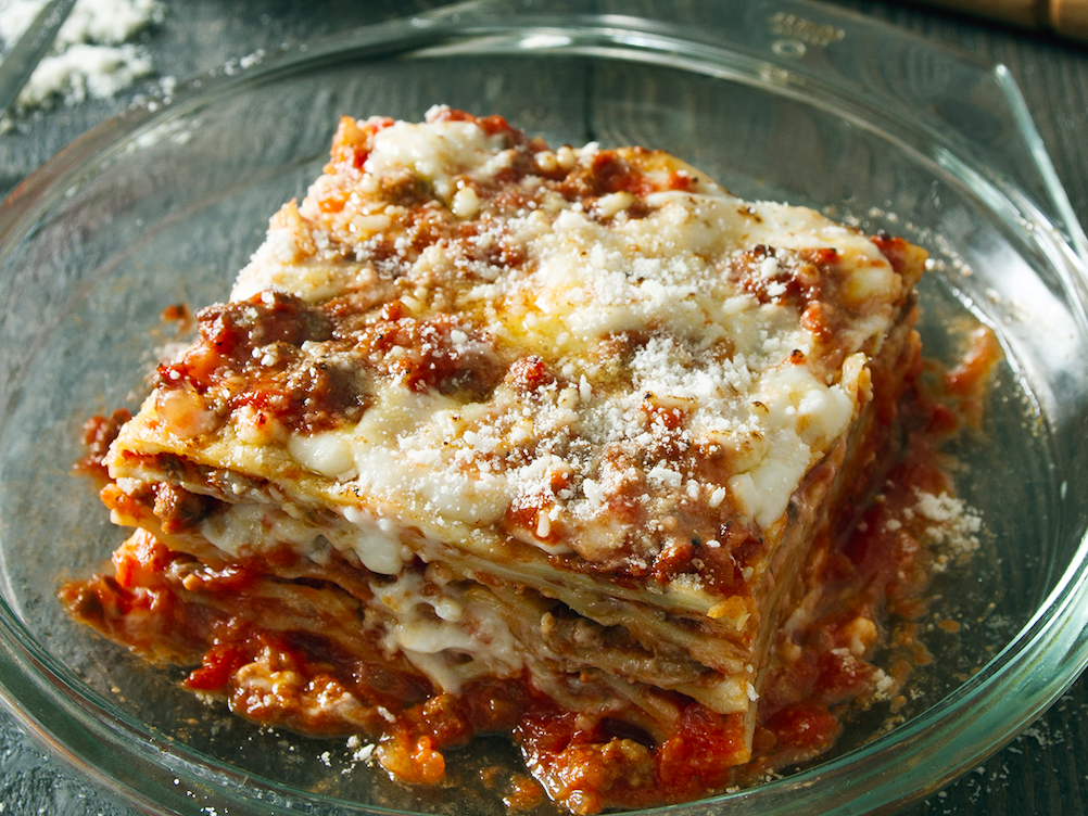 Lasagna, layered with meat sauce and béchamel. (Courtesy of Barilla Restaurants)