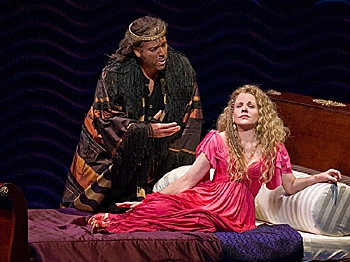 UNUSUAL LOVE STORY: Thomas Hampson as Athanaël and Renée Fleming stars as the title character in Massenet's 'Thaïs.'  (Ken Howard/Metropolitan Opera)