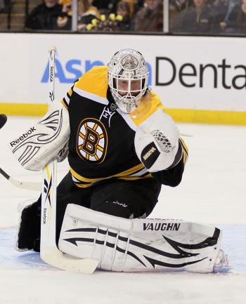 DO OR DIE: Tim Thomas had a terrific regular season but now he needs to prove himself in the playoffs. (Elsa/Getty Images)