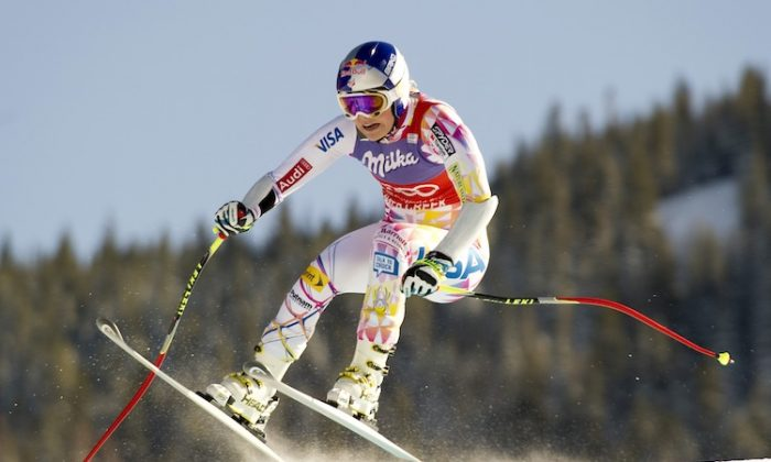 Lindsey Vonn catches air on the way to her fourth victory in a row on the World Cup circuit. (Don Emmert/AFP/Getty Images)