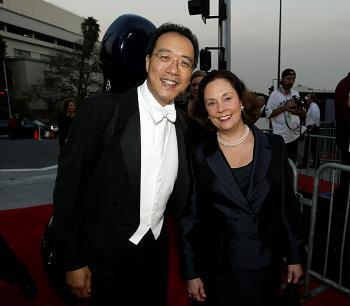 YO YO MA AND JILL: Cellist Yo Yo Ma and his wife, Jill Hornor, attend the Walt Disney Concert Hall opening gala in Los Angeles. (Carlo Allegri/Getty Images for LAPA)