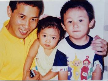Zhang Yuhui is shown with his son and daughter before he was imprisoned in China for working on The Epoch Times website. (The Epoch Times)