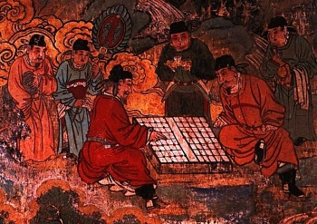 Chinese men avidly playing 'Xiangqi,' an ancient game of Chess, that is depicted on a Temple Mural. (Zhongguo Meishu Quanji)