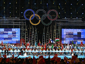 Dancers perform during the opening ceremony of the Beijing 2008 Olympic Games.   (Clive Mason/Getty Images)