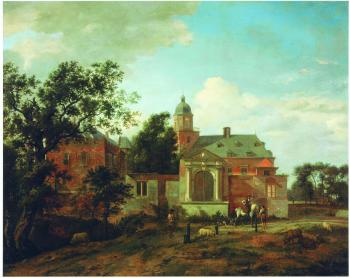 A painting by Jan van der Heyden (1637–1712), View of Nyenrode Castle on the Vecht, late 17th – early 18th century, oil on panel. Exhibited at the Jewish Museum exhibtion opening on Saturday. (Marei von Saher, the heir of Jacques Goudstikker.)