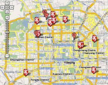 The Journalist's Walking Guide to the Persecution of Falun Gong in Beijing includes a map of Beijing, with markers of Olympic sites along with locations that are known to have jailed or tortured Falun Gong practitioners. (Falun Dafa Information Center)