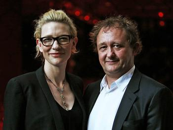 Actress and Sydney Theatre Company co-artistic director Cate Blanchett (L) and husband and co-artistic director Andrew Upton attend the opening night of new musical 'Spring Awakening' at Sydney Theatre on February 9, 2010 in Sydney, Australia. (Graham Denholm/Getty Images)