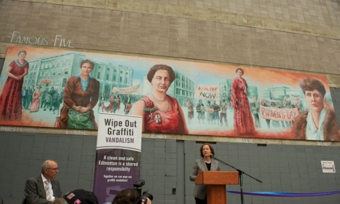 Alberta Premier Alison Redford speaks at the unveiling of the Famous Five mural in Edmonton. The mural is part of a campaign to clean and beautify the city and deter graffiti vandalism. (Courtesy City of Edmonton)
