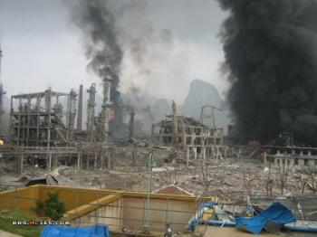 The scene after the explosion.  (Photo provided by Chinese Internet user)